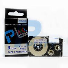 2PK Compatible Casio XR-9WEB Blue on White Label Tape 9mm x 8m KL430 XR-9WEB1