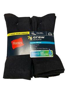 Hanes® Men's 7-Pairs Black Crew SOCKS  FreshIQ®- ComfortBlend®  SHOE SIZE 6-12