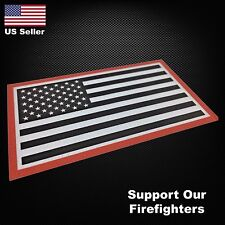Support Our Firefighters / USA American Flag REFLECTIVE Decal Sticker Car Decal