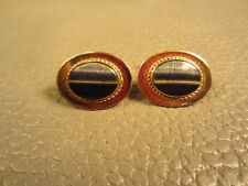 Mid Century Modern Striated Agate Rope Edge Yellow Gold Plated Cuff Links