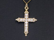 9CT GOLD CROSS, HALLMARKED GOLD QUARTZ CROSS PENDANT