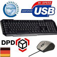 PC MAUS + TASTATUR SET KABEL SCHWARZ USB DEUTSCH KEYBOARD COMPUTER QWERTZ LAYOUT