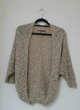 BERSHKA Womens Cardigan Size Small Beige Batwing Jumper 3/4 Sleeve Cacoon Jersey
