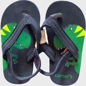 Carter's Toddler boys small 5-6 dinosaur flip flop sandals Blue Green