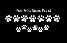 "1"" Paw Print Name Vinyl Decal, Paw Print Pet Name Wall Decal, Food Bowl Decal"