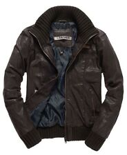 Brand New With Tags Superdry Rickman Leather Bomber Jacket Brown XL