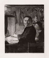 "WOW REMBRANDT 1800s Etching B282 ""Lieven van Coppenol Writing Master"" FRAMED COA"