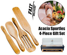 Spurtle Kitchen Tools Set Spatula Cooking Utensils 4 Piece Acacia Bamboo Set NEW
