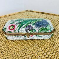 Vintage Porcelaine de Paris Trinket Box Floral Hand Painted Jewellery Box Retro
