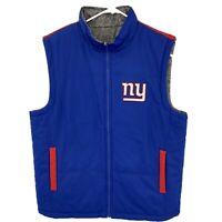 Men's NFL NY Giants Full Zip Vest Jacket Reversible Regular L Blue/Gray/Red