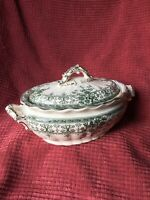 Antique c1890 Keeling & Co Green Tureen Covered Dish Oxford England Pottery
