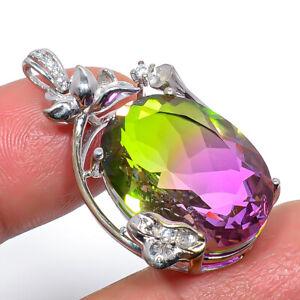 "Bi-Color Tourmaline, Cz Gemstone 925 Sterling Silver Pendant Jewelry 1.4"" M1595"