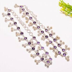 "Amethyst Gemstone Handmade Ethnic Fashion Jewelry Anklet 12"" SA1"