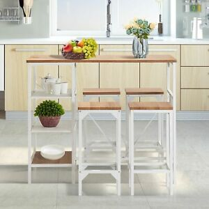 Industrial Style 5 Piece Counter Height Dining Table Set, Oak Finish
