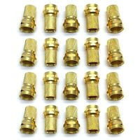 20 pk Gold Plated F-Type Male Twist On Connectors for RG6 Coaxial Coax TV Cable