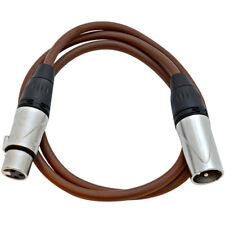 3 Foot Brown XLR Patch Cable Microphone Cord - 3 Pin XLR Male to XLR Female 3'