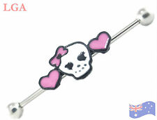 SKULLS Industrial Barbell Ear piercing 14g 38mm PINK HEART SKULLBall bar B