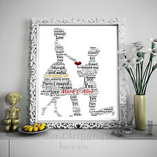 Personalised  Engagement Couple Word Art Gift