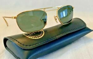 New Old Stock RAY BAN B&L SQUARE 46mm SUNGLASSES W2001 Gold Wire ARISTA FRAME
