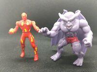 Human Torch vs Dragon Man Metal Mania MARVEL COMICS ToyBiz 1995 Fantastic Four