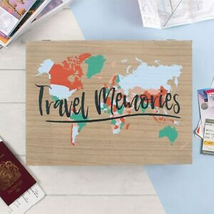 Travel Memories Box Storage Book World Map Journals Wooden Gift Christmas UK