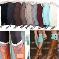 Fashion Crochet Knitted Lace Trim Toppers Cuffs Leg Warmers Winter Boot Socks