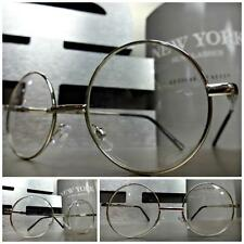 Mens Women VINTAGE Style Clear Lens EYE GLASSES Small Round Silver Fashion Frame