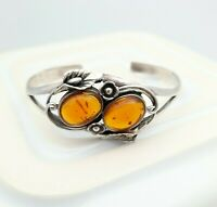 Sterling Silver Art Nouveau Style Bracelet with Amber Coloured Stone