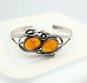 Art Nouveau Style Sterling Silver Bracelet with Amber Coloured Stone Edwardian