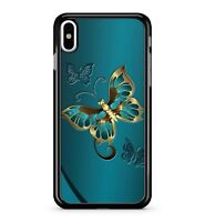 Glamorous Golden Yellow Majestic Butterfly Blue Metal Effect 2D Phone Case Cover