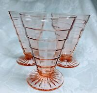 """Vintage 4 7/8"""" Anchor Hocking Pink Block Optic Footed Tumblers lot of 3"""