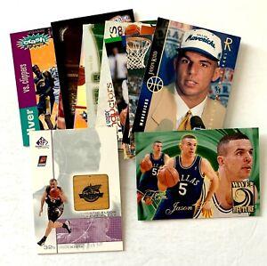 Jason Kidd 14 card lot 6 rookie cards, floor piece relic, inserts, Mavericks Sun