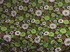 """Retro Vintage Curtains - Approx 63"""" X 90""""  Green Flowers 1970  SUPERB"""