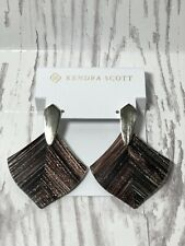 Kendra Scott Astoria Drop Earrings Brown Dusted Glass Gold Dressy Boho Dangle