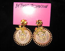 BETSEY JOHNSON  RARE CAT LION CAMEO COPPER WITH GOLD  DANGLE EARRINGS