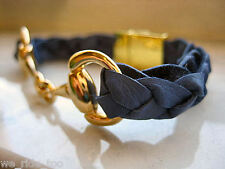 Equestrian Snaffle Bit & Magnet Clasp★ ★Braided Denim Blue Leather Bracelet Gold