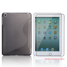 Clear Smoke S-Shape TPU Rubber Case+Free Clear Screen Cover for Apple iPad Mini