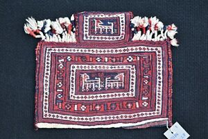 Terrific Antique Caucasian Soumak Kilim Salt Bag Very Rare Size Kilim Salt Bag