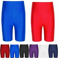 Kids Girls Boys Nylon Lycra Stretchy Sports Cycling Shorts School Gym Hotpant