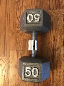 50lb Dumbbell Single Grey Cast Iron Hex Same Or Next Day Shipping!