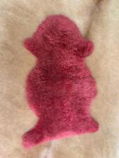 Genuine Natural Australian Sheepskin Rug Single Pelt Maroon Pink 2x3 ft Real Fur