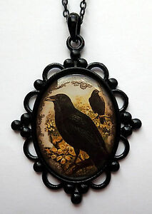 Gothic Raven Victorian Octopus Cameo Vampire Bat Pendant Crow Necklace Skull