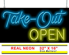 "Take-Out Open Neon Signs with Free Flashing Open | Jantec | 32"" X 16"" 