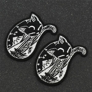 1 Pair Forest Sleeping Cat Embroidery Patches Iron on Applique Accessory Craft