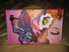 NEW PRADA $1390 SAFFIANO LEATHER PRINT BUTTERFLY CLUTCH IN MULTI COLOR