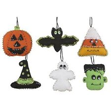 """Halloween Happenings"" Kit makes 6 Felt & Sequin Christmas Pumpkin BatOrnaments"