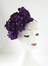 Purple Hydrangea Rose Flower Fascinator Headpiece Races Vintage Headband 2145