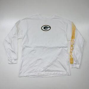 Reebok Green Bay Packers Long Sleeve T-Shirt Size Adult XL White NFL Football