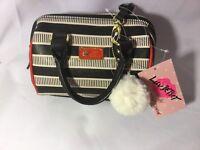 Betsey Johnson Black White Red Stripe Mini Barrel Purse Crossbody NWT Handbag