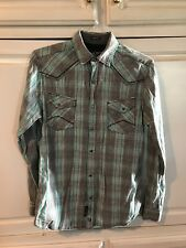 Western Moonshine Spirit By Brad Paisley Pearl Snap Mens Small Shirt LS Rodeo
